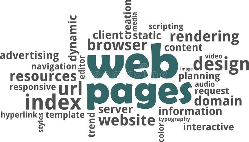 Nuage de mot - pages Web illustration libre de droits