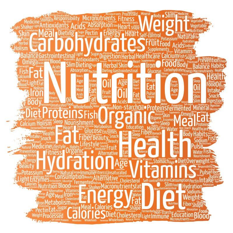 Nuage de mot de pinceau de régime de santé de nutrition de vecteur illustration libre de droits