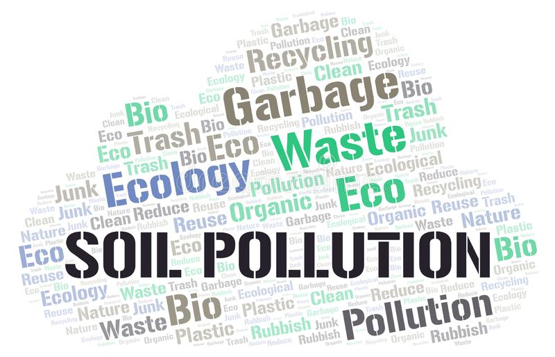 Nuage de mot de pollution du sol illustration de vecteur