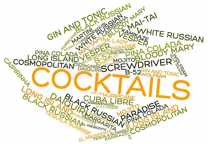 Nuage de mot pour des cocktails illustration de vecteur