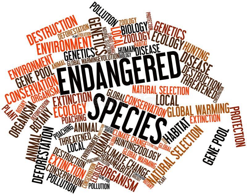 Nuage de mot pour des espèces en voie de disparition illustration stock