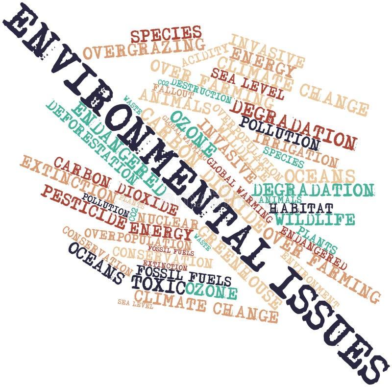 Nuage de mot pour des problèmes environnementaux illustration de vecteur