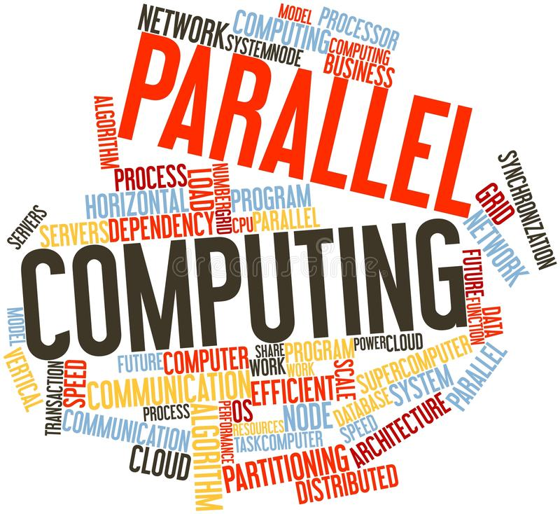 Nuage de mot pour l'informatique parallèle illustration stock