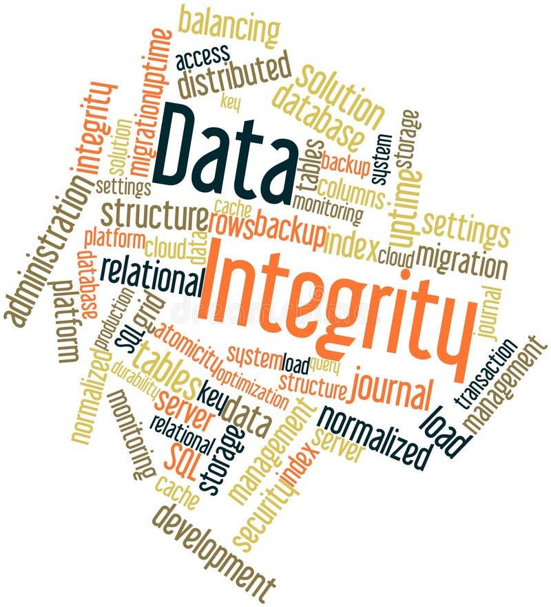 Nuage de mot pour l'intégrité des données illustration libre de droits
