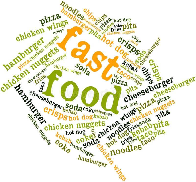 Nuage de mot pour les aliments de préparation rapide illustration de vecteur