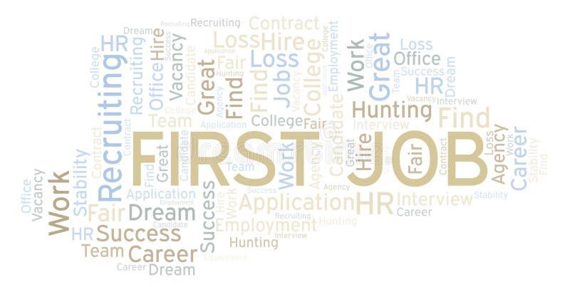 Nuage de mot de premier emploi illustration stock