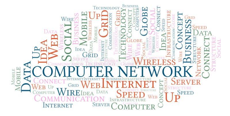 Nuage de mot de réseau informatique illustration libre de droits