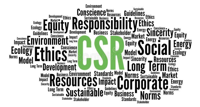 Nuage de mot de responsabilité sociale de l'entreprise de CSR illustration stock