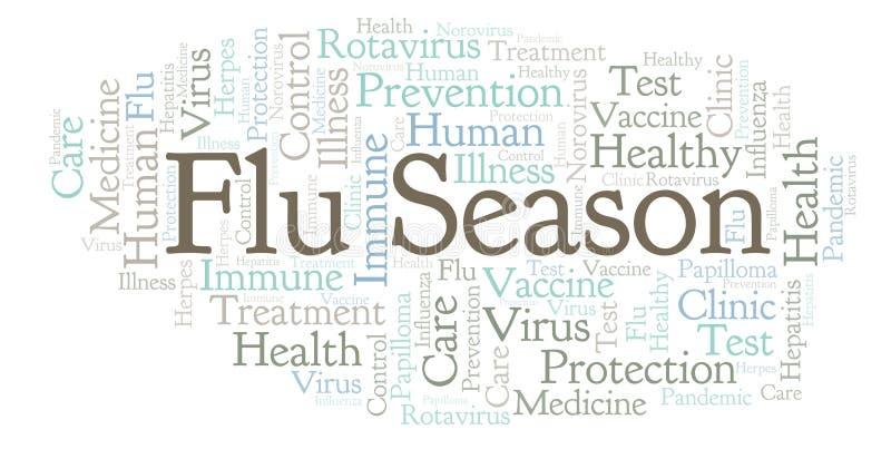 Nuage de mot de saison de la grippe, fait avec le texte seulement illustration de vecteur