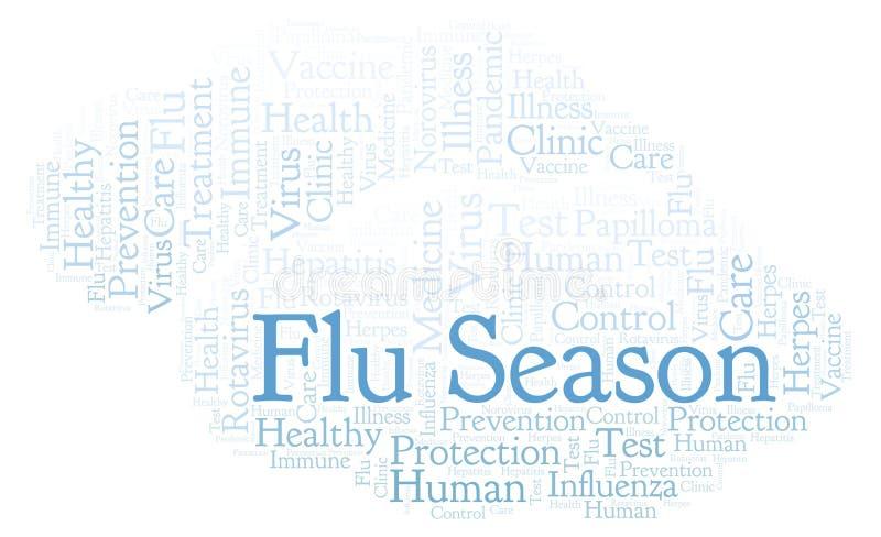 Nuage de mot de saison de la grippe, fait avec le texte seulement illustration libre de droits