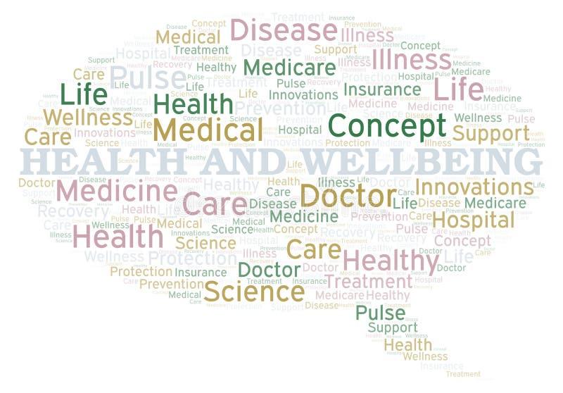 Nuage de mot de santé et de bien-être illustration stock