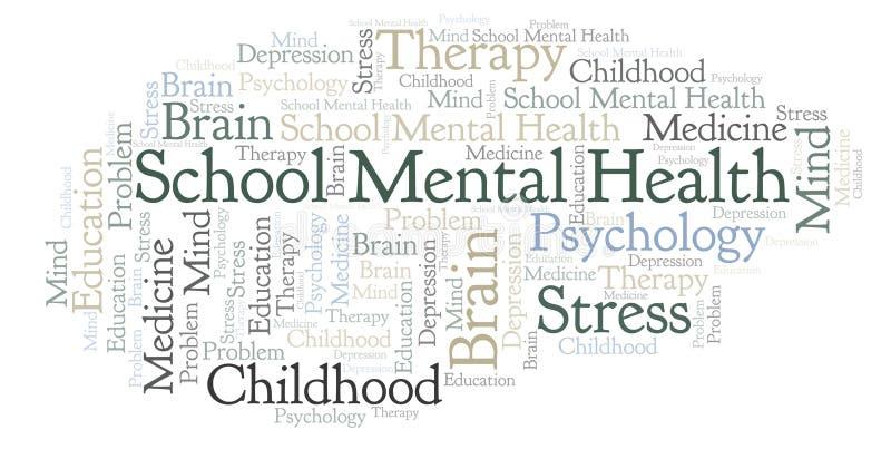 Nuage de mot de santé mentale d'école illustration de vecteur