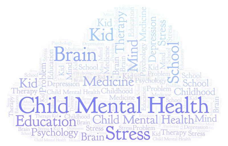 Nuage de mot de santés mentales de l'enfant illustration stock