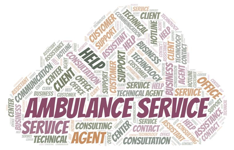 Nuage de mot de service d'ambulance illustration stock