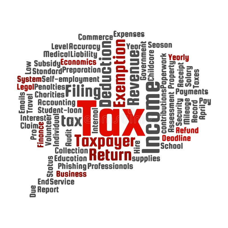 Nuage de mot de sujet d'impôts illustration de vecteur