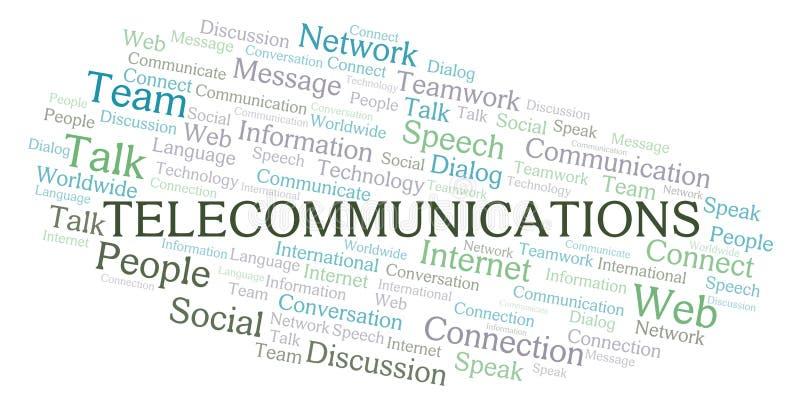Nuage de mot de télécommunication image stock