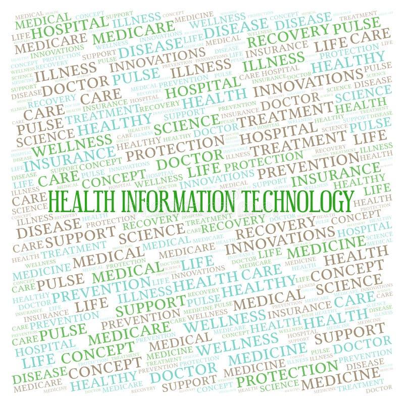 Nuage de mot de technologie de l'information de santé illustration de vecteur