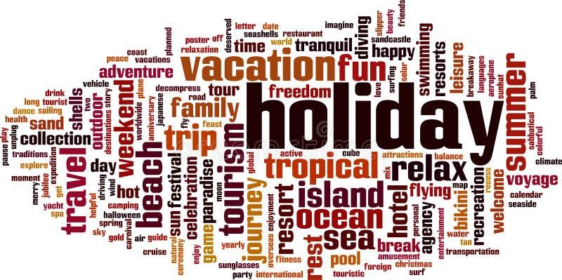 Nuage de mot de vacances illustration libre de droits