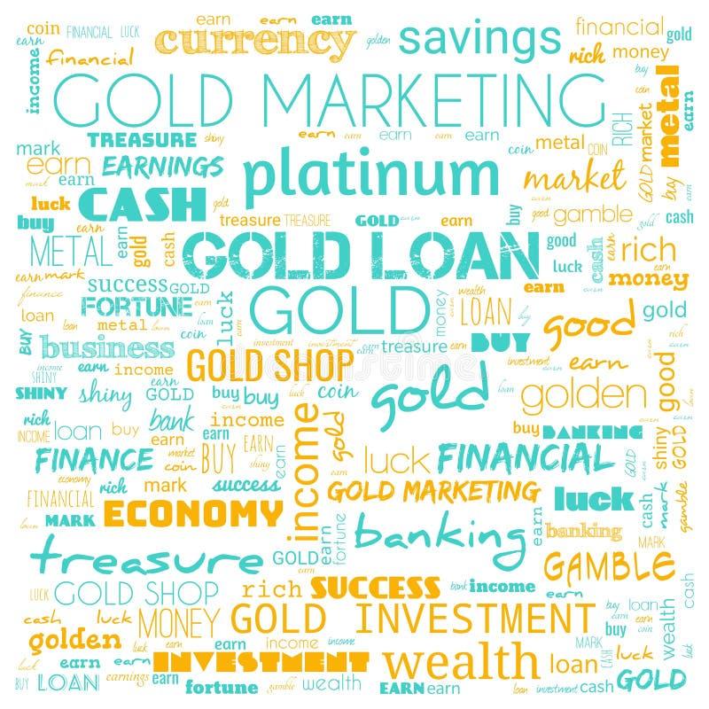 nuage de mots d'or, texte, utilisation des nuages de mots pour la bannière, la peinture, la motivation, la page web, le fond du s illustration stock
