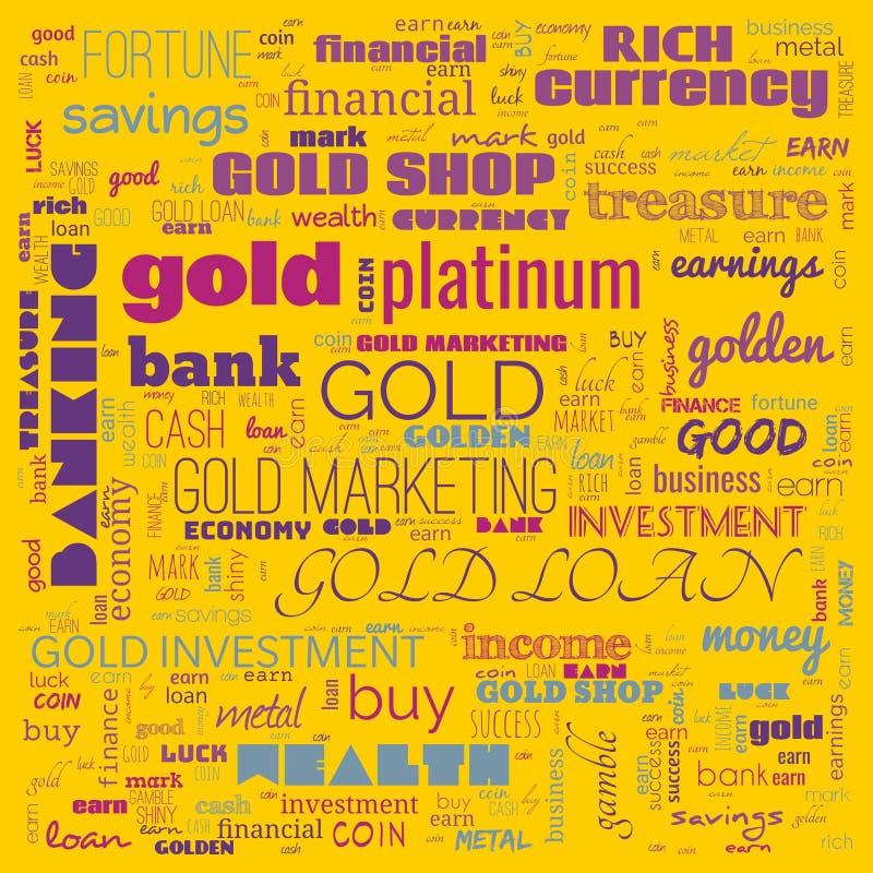 nuage de mots d'or, texte, utilisation des nuages de mots pour la bannière, la peinture, la motivation, la page web, le fond du s illustration de vecteur