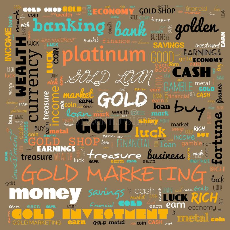 nuage de mots d'or, texte, utilisation des nuages de mots pour la bannière, la peinture, la motivation, la page web, le fond du s illustration libre de droits