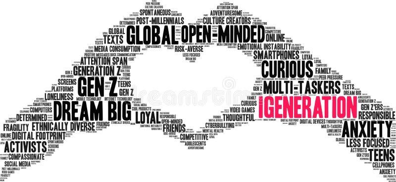 Nuage de mots IGeneration illustration stock
