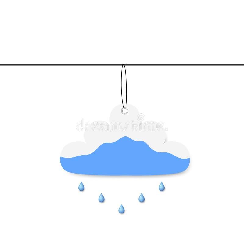 Nuage de papier avec la pluie illustration stock