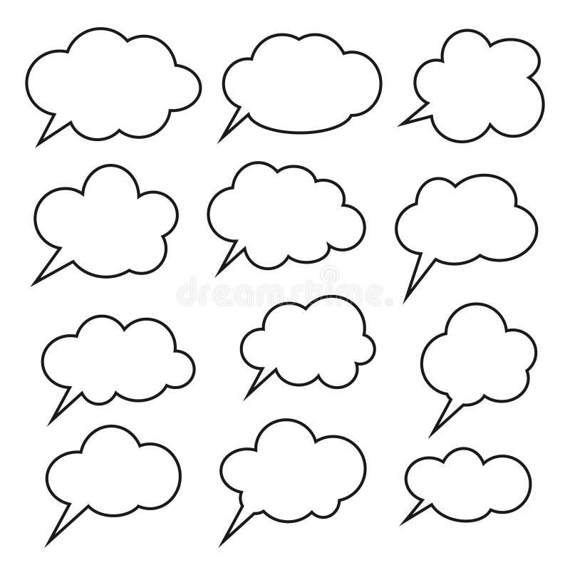 Nuage de pensée, ligne icône, bulles de zone de dialogue de bande dessinée de causerie Ligne vide vide bulles de la parole illustration de vecteur