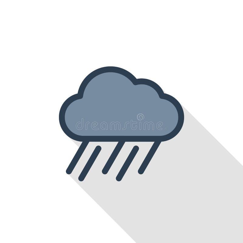 Nuage de pluie, ligne mince icône plate de temps de tempête de couleur Symbole linéaire de vecteur Longue conception colorée d'om illustration stock