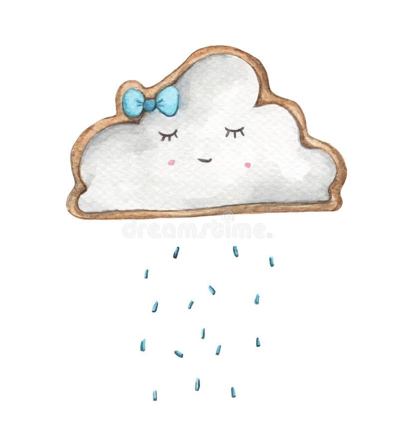 Nuage de pluie mignon avec des baisses de pluie Illustration de nourriture Design de carte pour le bébé illustration stock