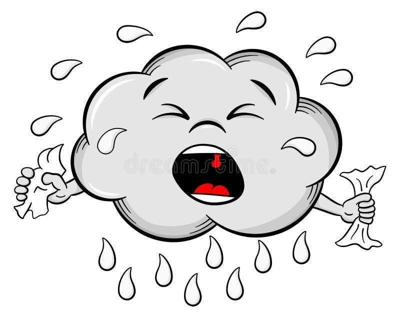 Nuage de pluie pleurant de bande dessinée illustration libre de droits