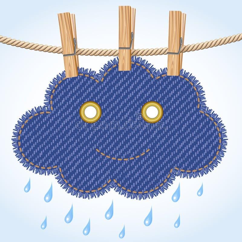 Nuage de pluie sur une corde à linge illustration libre de droits