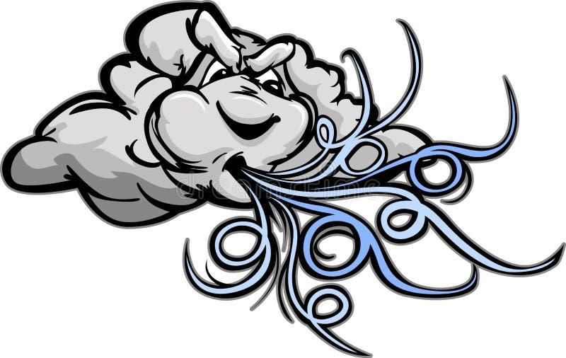 Nuage de soufflement de windstorm de dessin animé illustration libre de droits