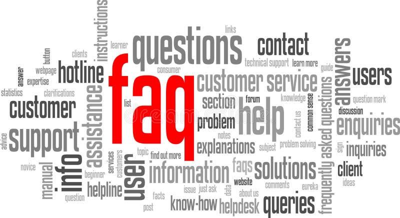Nuage de tags de FAQ (bouton de ligne directe de service client de soutien de l'information) illustration libre de droits