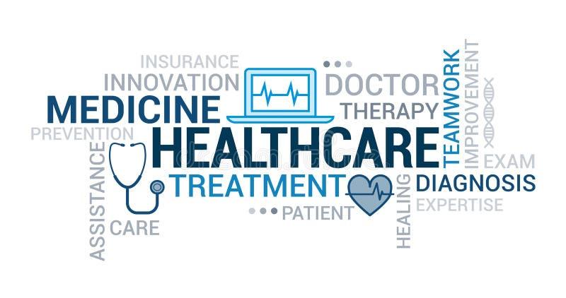 Nuage de tags de médecine et de soins de santé illustration stock