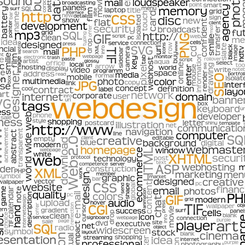 Nuage de tags de mot-clé de Webdesign - nuage de Word - fond de vecteur illustration stock