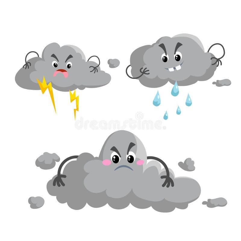 Nuage de tempête obscurci de bande dessinée avec le mascotsset d'orage Symboles de pluie et de tempête de temps Icônes d'illustra illustration libre de droits