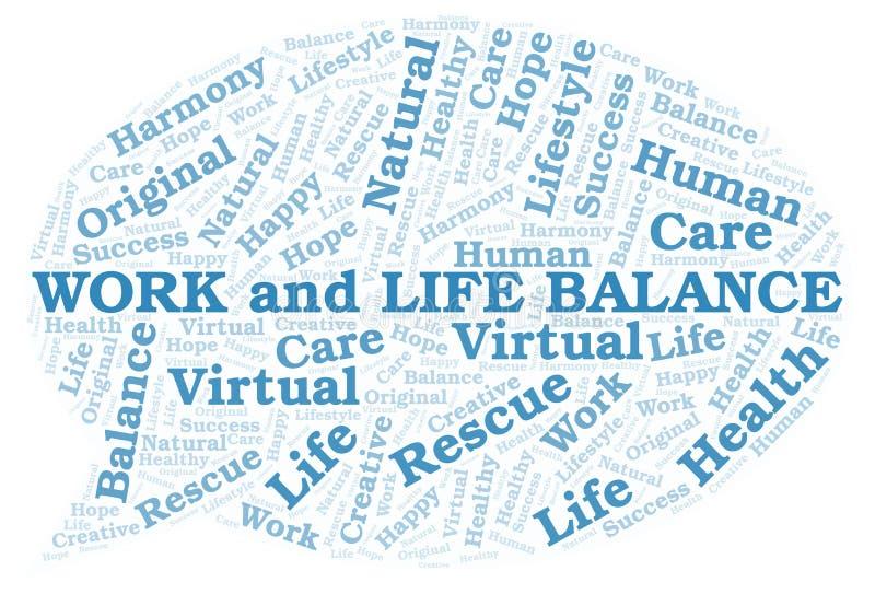 Nuage de travail et de mot d'équilibre de la vie illustration stock