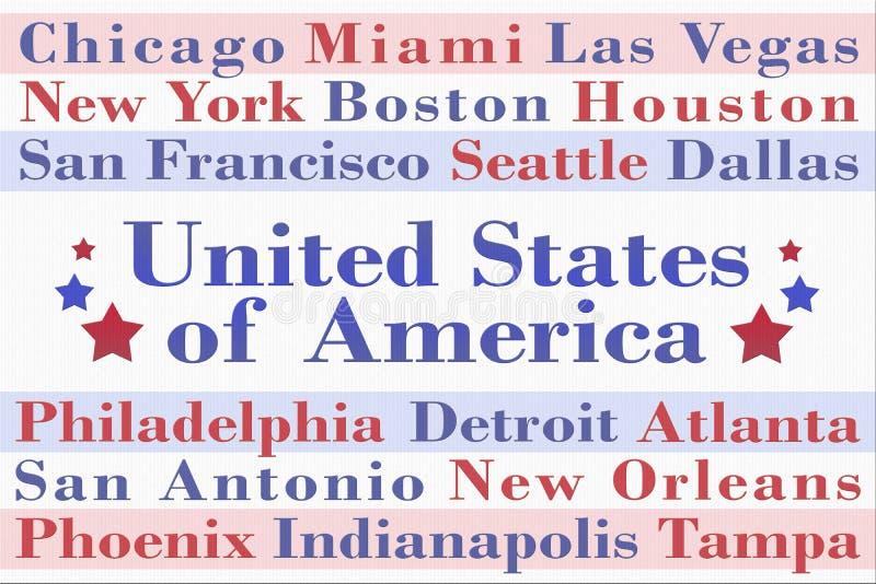 Nuage de Word avec des villes des Etats-Unis d'Amérique illustration de vecteur