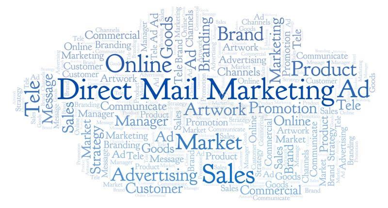 Nuage de Word avec le marketing direct par courrier des textes illustration libre de droits