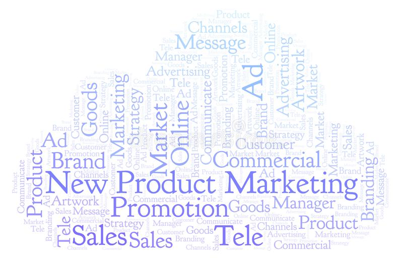 Nuage de Word avec le marketing de produit nouveau des textes illustration de vecteur