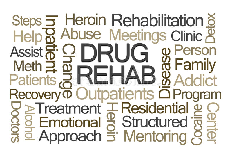 Nuage de Word de réadaptation de drogue illustration libre de droits