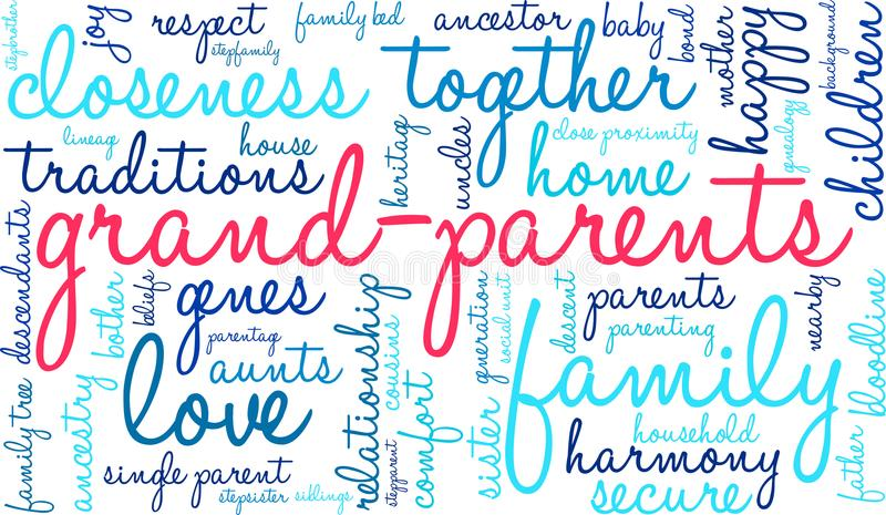 Nuage de Word de grands-parents illustration stock