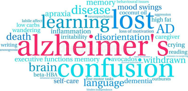 Nuage du ` s Word d'Alzheimer illustration de vecteur