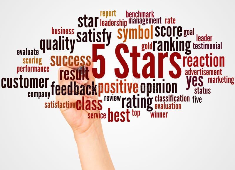 Nuage et main de mot de 5 étoiles avec le concept de marqueur illustration de vecteur