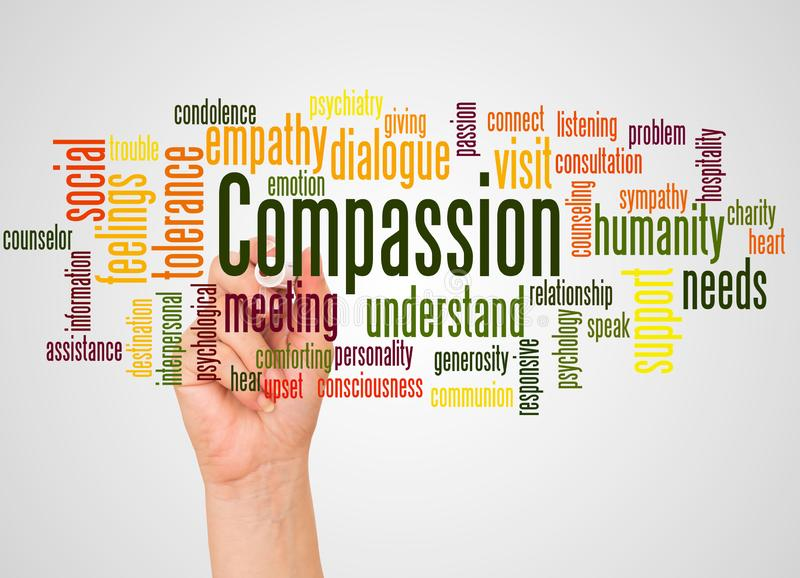 Nuage et main de mot de compassion avec le concept de marqueur illustration libre de droits