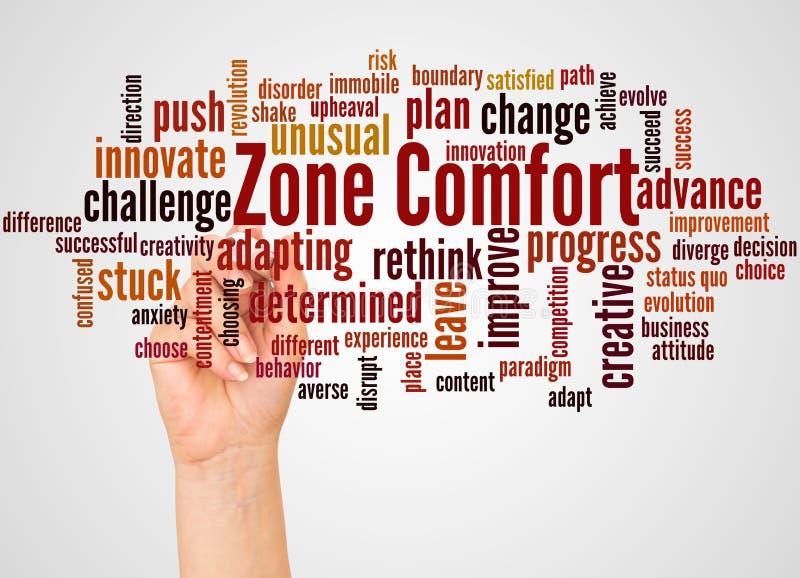 Nuage et main de mot de confort de zone avec le concept de marqueur illustration stock