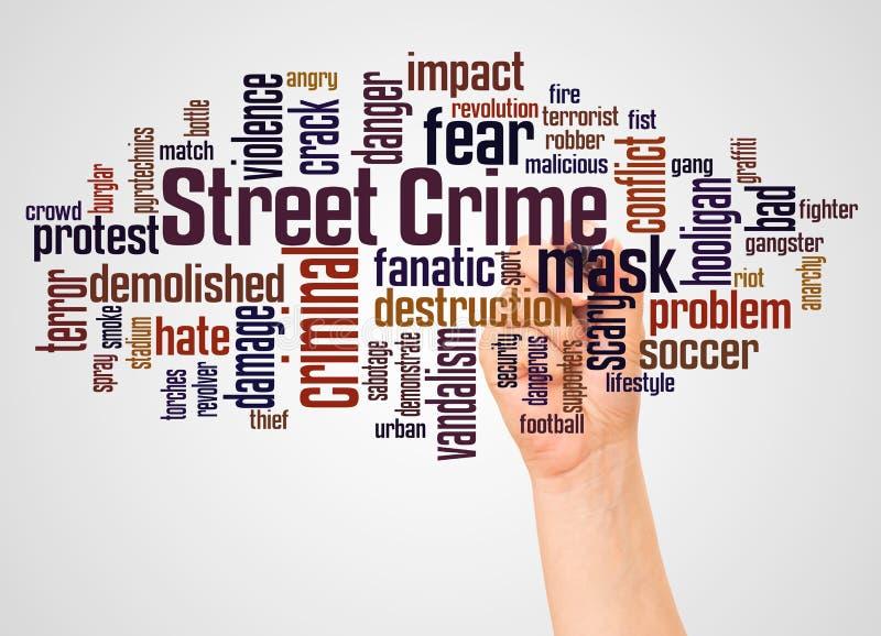 Nuage et main de mot de crime de rue avec le concept de marqueur illustration de vecteur