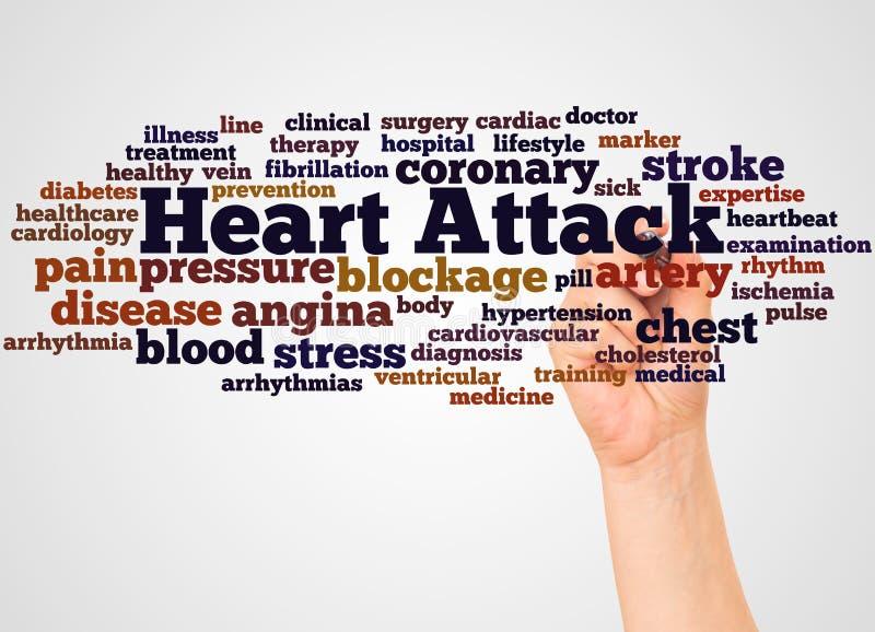 Nuage et main de mot de crise cardiaque avec le concept de marqueur illustration libre de droits