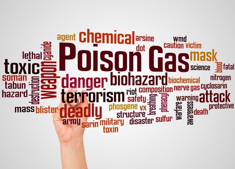 Nuage et main de mot de gaz toxique avec le concept de marqueur photo stock